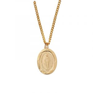 Gold Plated Miraculous Medal Necklace 18""
