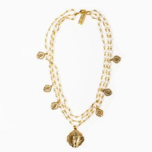 Queen of Heaven Triple Strand Golden Necklace