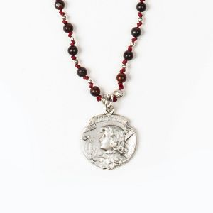 Joan of Arc Bead Neckace (Silver)