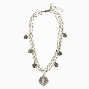 Queen of Heaven Silver Triple Strand Necklace