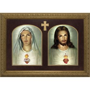 Sacred & Immaculate Hearts 15x25 Framed Art