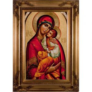 Byzantine Madonna Framed 10x16 Wall Plaque