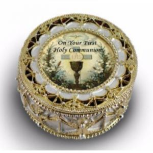Gold and Pearl Communion Rosary Box