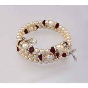 ACM24 Pearl & Crystal Rosary Birthstone Bracelet