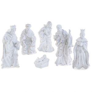 "6 Piece White Glitter Nativity 10"""