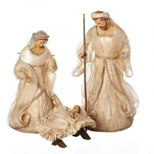 3pc Raffia Holy Family 14""