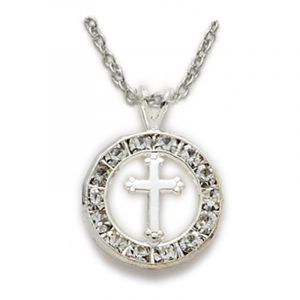 Crystal Circle Cross Necklace 18""