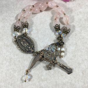 Rose Quartz Our Lady Guadalupe Bracelet
