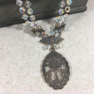 Swarovski Crystal Necklace w/ Monstrance Medal