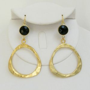 Handcast Gold Ring & Black Onyx Crystal Earrings