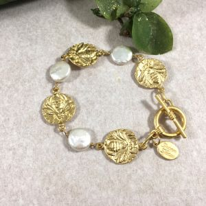Pearl and Gold Bee Bracelet