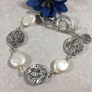 Pearl and Sterling Bee Bracelet