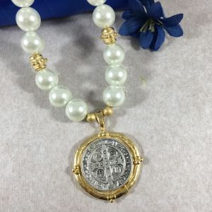 St. Benedict Medal Pearl Necklace