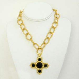 Handcast Gold Cross w/Black Onyx Stones Necklace