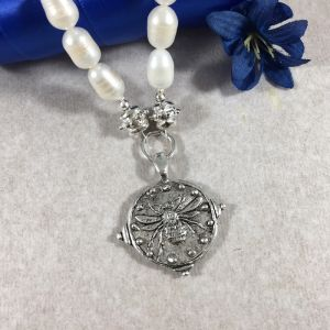 Sterling Silver Pearl Bee Necklace