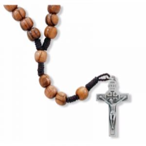 Olive Wood Corded Rosary with Relic