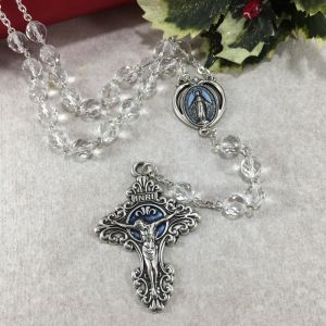 ACM60 Crystal Rosary with Blue Miraculous Medal