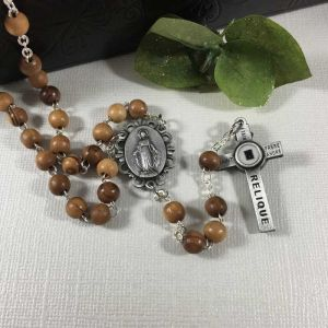 ACM111 Olive Wood Relic Rosary