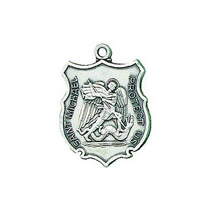 St Michael Sterling Badge Necklace 24''