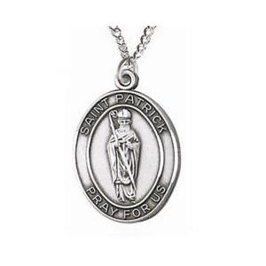 St. Patrick Sterling Medal Necklace 24''