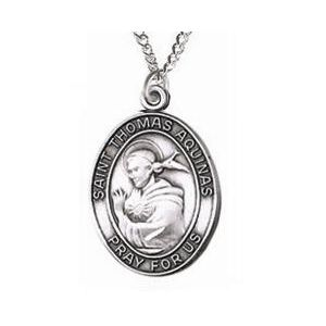 St. Thomas Aquinas Sterling Medal Necklace 24''