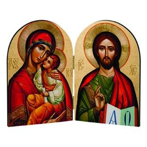 Byzantine Madonna and Christ Arched Diptych