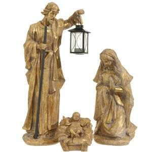 3 piece Golden Holy Family 20""
