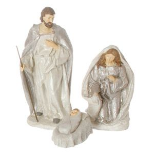 3pc Holy Family Ivory Glitter