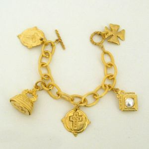 Crosses Gold Charm Bracelet