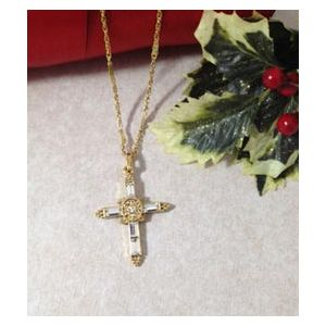 "18"" Crystal Cross Necklace"