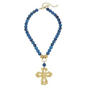 Blue Agate Cross Necklace