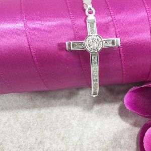St Benedict Side Cross Bracelet Sterling Silver