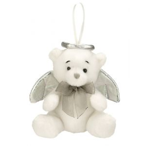 Tiny Plush Angel Bear Ornament (Silver)