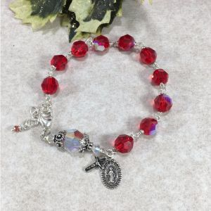 Ruby Swarovski Crystal Rosary Bracelet