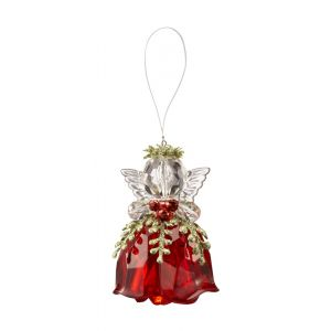 Rosebud Red Krystal Angel Ornament